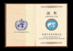 Certificado Federação Mundial de Acupuntura